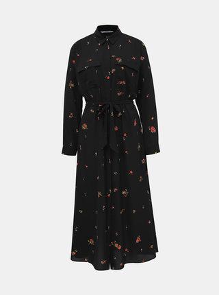 Čierne kvetované košeľové maxišaty ONLY Ladie