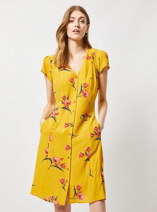Horčicové kvetované šaty Dorothy Perkins Tall