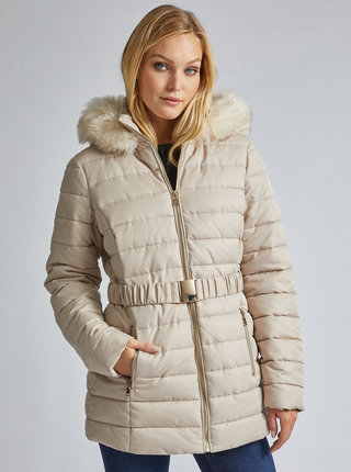 Béžová zimná prešívaná bunda Dorothy Perkins Tall