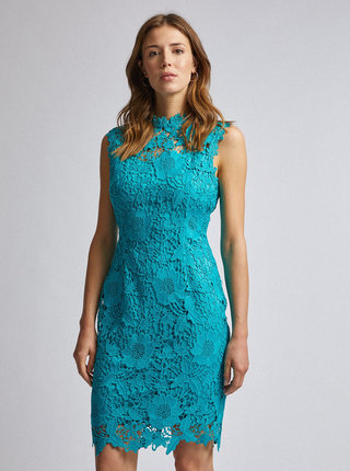 Tyrkysové krajkové púzdrové šaty Dorothy Perkins