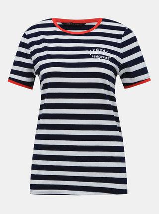 Bílo-modré pruhované tričko s výšivkou ONLY Laura
