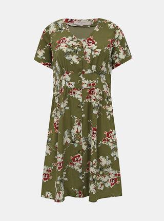 Khaki květované šaty ONLY CARMAKOMA Ona