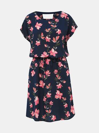 Tmavě modré květované šaty ONLY Nova