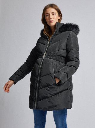 Černý zimní prošívaný těhotenský kabát s umělým kožíškem Dorothy Perkins Maternity