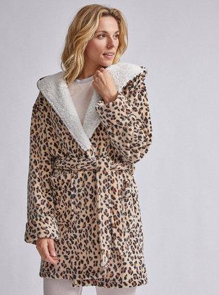 Hnědý župan s leopardím vzorem Dorothy Perkins Robe