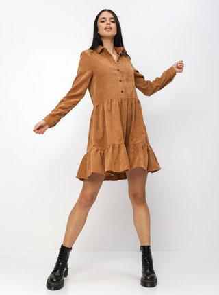 Hnedé menčestrové košeľové šaty VERO MODA Kennedy