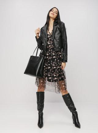 Černé květované šaty s výšivkou VERO MODA Tori