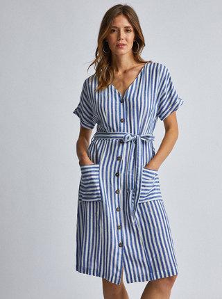 Bielo–modré pruhované šaty s prímesou ľanu Dorothy Perkins