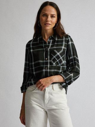 Tmavozelená kockovaná košeľa Dorothy Perkins