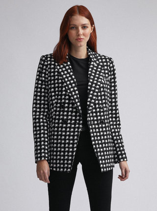 Bielo-čierne kockované sako Dorothy Perkins