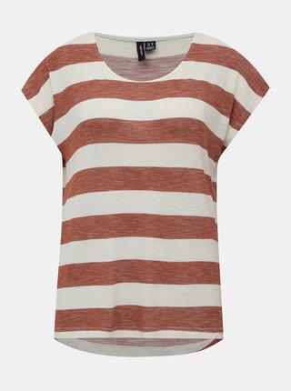 Krémovo-hnedé pruhované basic tričko VERO MODA Wide