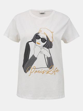 Krémové tričko s potlačou Jacqueline de Yong Oui