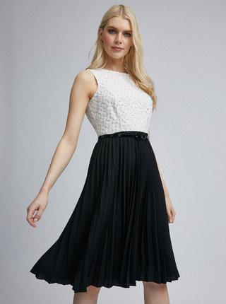 Bielo-čierne plisované šaty Dorothy Perkins