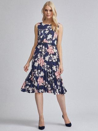 Tmavomodré kvetované plisované šaty Dorothy Perkins