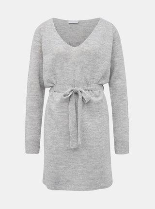 Svetlošedé svetrové basic šaty VILA Suril
