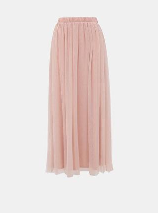 Svetloružová tylová maxi sukňa VILA Zamara