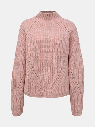 Svetloružový sveter s prímesou vlny Noisy May Cristin