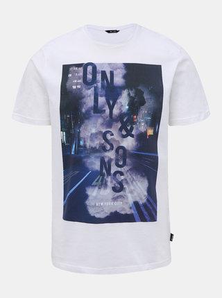Bílé tričko s potiskem ONLY & SONS Calm