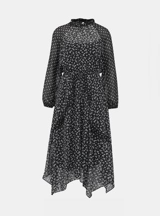 Černé vzorované midišaty Dorothy Perkins Petite