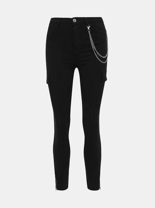 Černé zkrácené skinny fit džíny s kapsami TALLY WEiJL Chargo