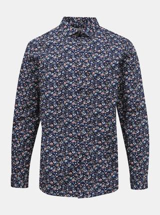 Tmavomodrá kvetovaná slim fit košeľa Jack & Jones Blackpool