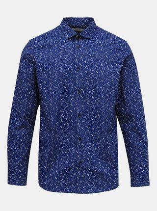 Modrá kvetovaná slim fit košeľa Jack & Jones Blackpool