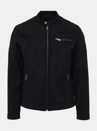 Čierna bunda v semišovej úprave Jack & Jones Rocky