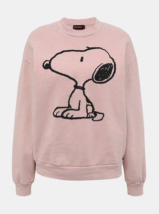 Svetloružová mikina s potlačou TALLY WEiJL Snoopy Olive
