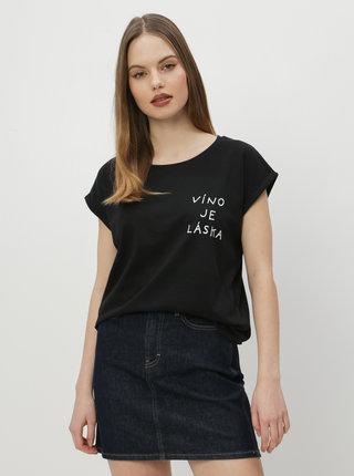 Čierne dámske tričko ZOOT Original Víno je láska