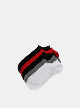 Sada piatich párov nízkych ponožiek v bielej, šedej, červenej a čiernej farbe TALLY WEiJL Ready