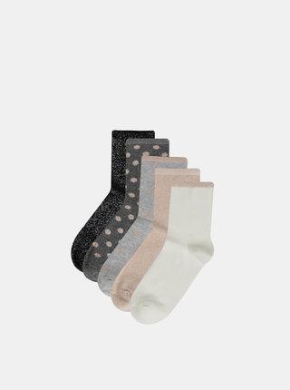 Sada piatich párov vzorovaných ponožiek v čiernej, šedej, rúžovej a krémovej farbe TALLY WEiJL Goldy