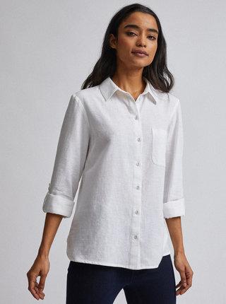 Biela košeľa s prímesou ľanu Dorothy Perkins Petite