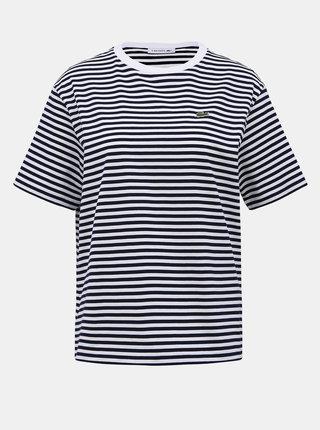 Bílo-modré dámské pruhované tričko Lacoste