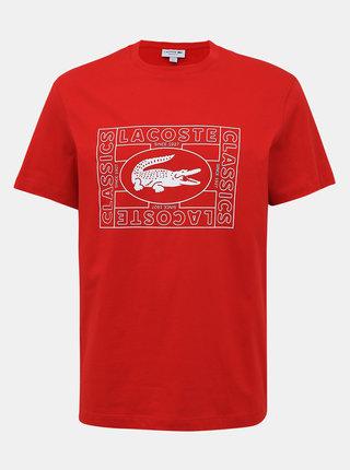 Červené pánske tričko s potlačou Lacoste