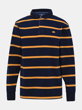Žluto-modré pruhované polo tričko s výšivkou Raging Bull