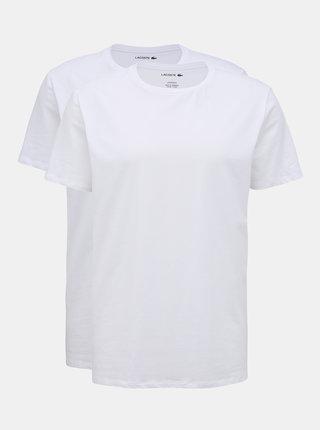 Sada dvoch bielych pánskych basic tričiek Lacoste
