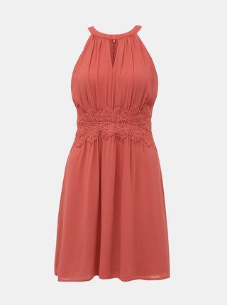 Korálové šaty s krajkou VILA Milina