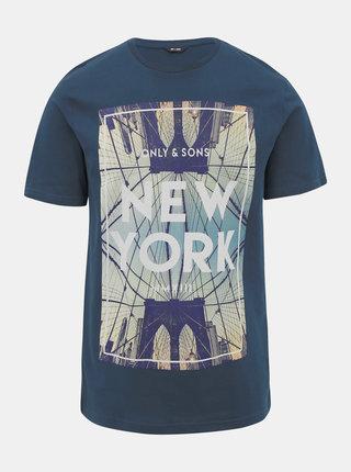 Tmavě modré tričko s potiskem ONLY & SONS Calm