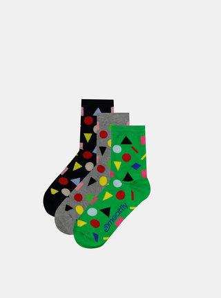 Sada troch párov dámskych vzorovaných ponožiek v čiernej, šedej a zelenej farbe Meatfly