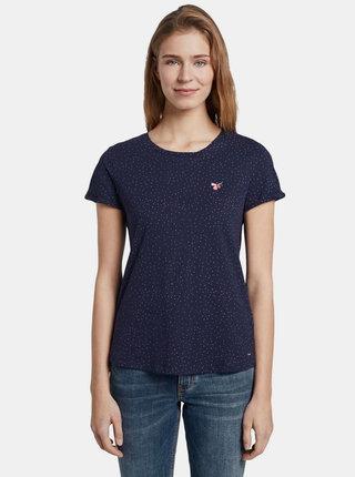 Tmavomodré dámske bodkované tričko Tom Tailor Denim