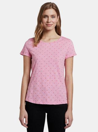 Růžové dámské vzorované tričko Tom Tailor Denim