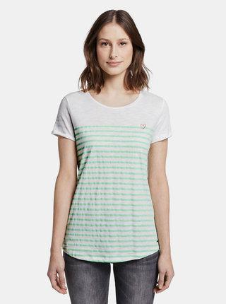 Bílé pruhované dámské tričko Tom Tailor Denim