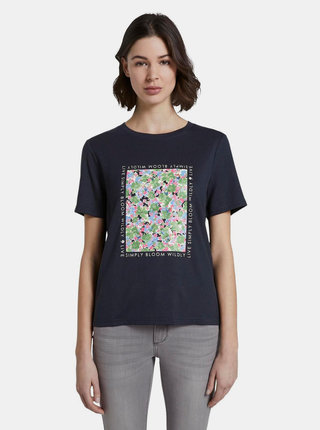 Tmavě modré dámské tričko s potiskem Tom Tailor