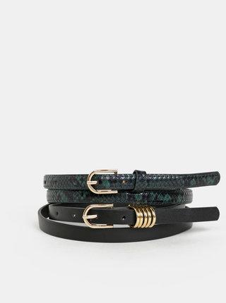 Sada dvou dámských pásků v tmavě zelené a černé barvě Haily´s Jamila