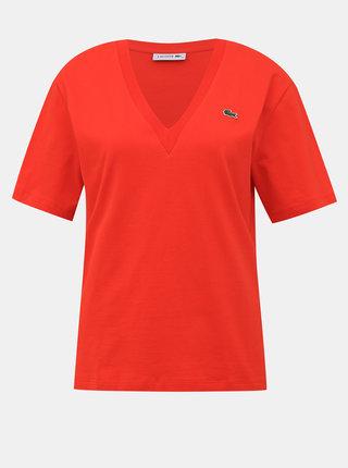 Červené dámské basic tričko Lacoste