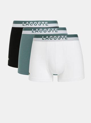 Sada troch boxeriek v bielej, zelenej a čiernej farbe Lacoste