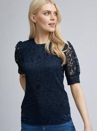 Tmavě modrá krajková halenka Dorothy Perkins