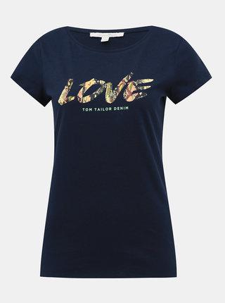 Tmavomodré dámske tričko s potlačou Tom Tailor Denim