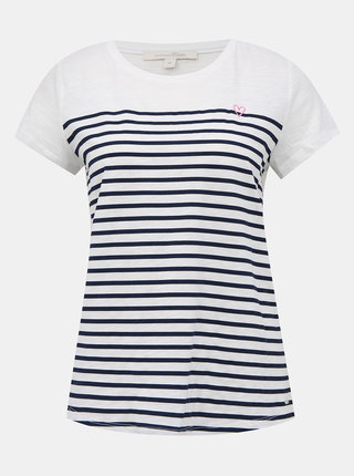 Biele dámske pruhované tričko Tom Tailor Denim