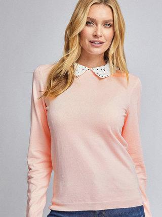 Světle růžový svetr s límečkem Dorothy Perkins